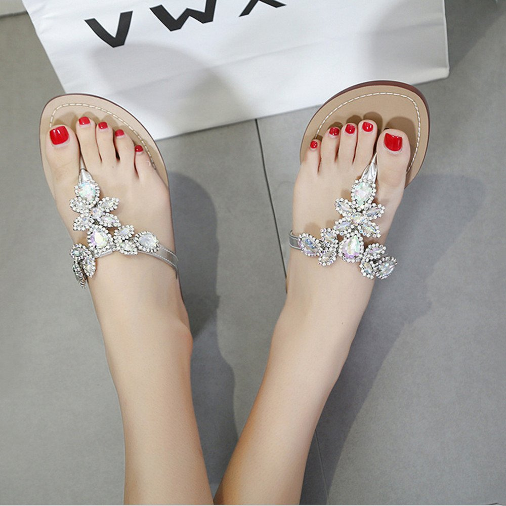 Angel love beauty Frauen Strass Jeweled Crystal Flip Flops Strass Frauen Flachen Sandalen Tanga Hausschuhe (Größe 37-47) (Farbe : Silver, Größe : 40 EU) Silver 5ec4c7