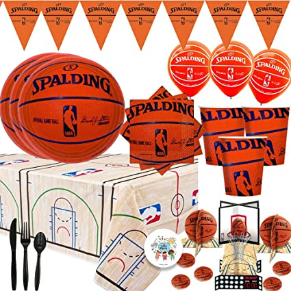 Amazon.com: Spalding Basketball Mega Party Supplies Pack and ...
