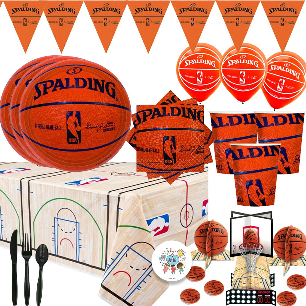 Spalding Basketball Mega Party Supplies Pack and Decorations For 16 Guests With Plates, Cups, Napkins, Tablecover, Cutlery, Banner, Balloons, Table Decorating Kit, and Exclusive Pin By Another Dream