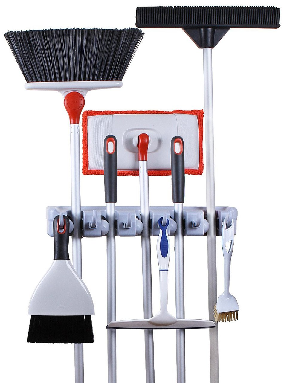 Amazon.com: Greenco Mop And Broom Organiser, Wall And Closet Mount Organizer  Rack, Holds Brooms, Mops, Rakes, Garden Equipment, Tools And More, ...