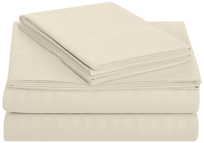 AmazonBasics Deluxe Microfiber Striped Sheet Set, Beige, Queen