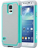 Galaxy S5 Case, S5 Phone Case ULAK Knox Armor Slim Shockproof Hybrid Silicone Rugged Rubber Hard PC Shell Protective Grip Cover for Samsung Galaxy S5 S V I9600 Mint Green/Gray