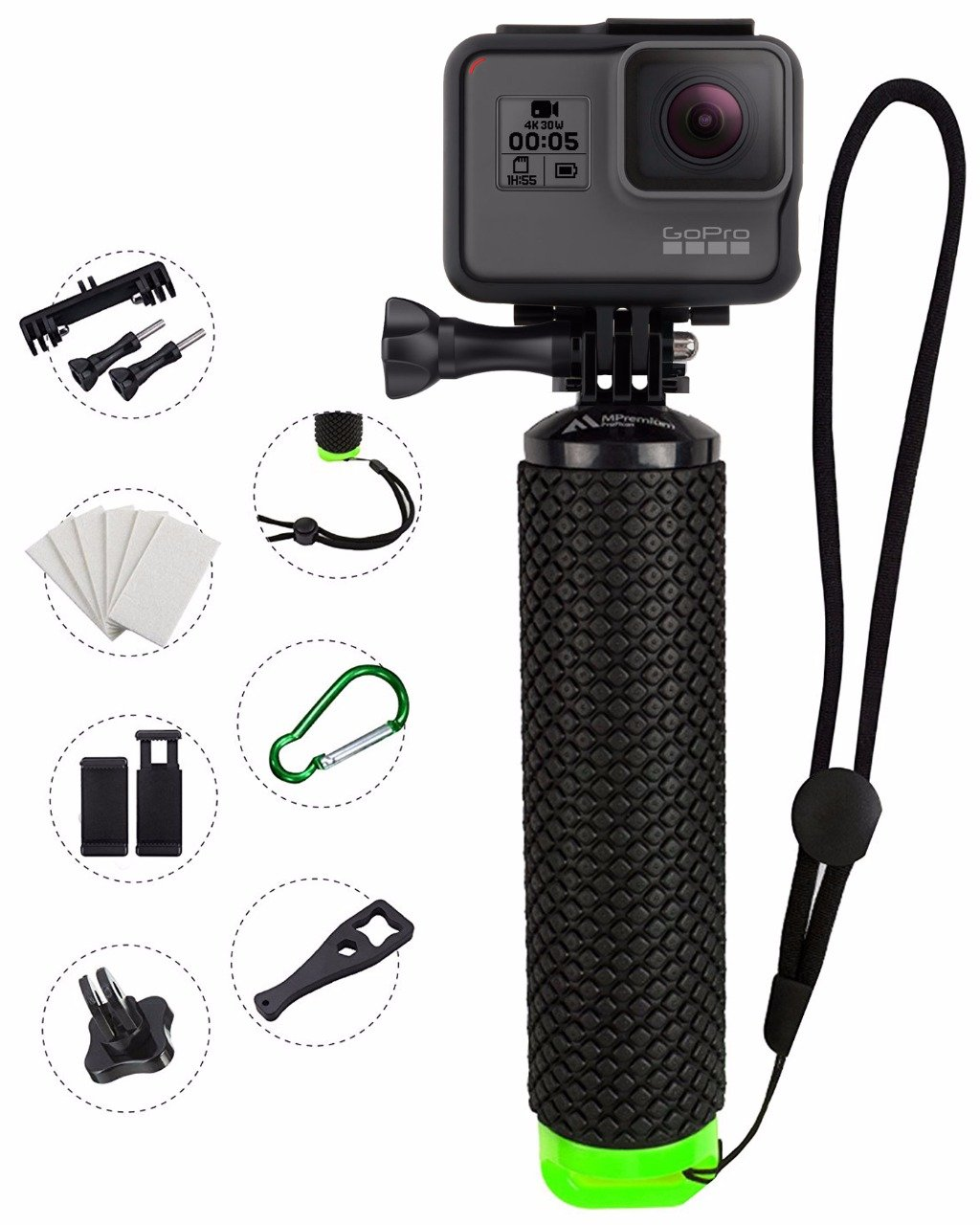 ProFloat Waterproof Floating Hand Grip compatible with GoPro Cameras Hero 4 Session Black Silver Hero 2 3 3+ 4. Handler Plus FREE Handle Mount Accessories. Water Sport Floaty for Action Camera (Green)