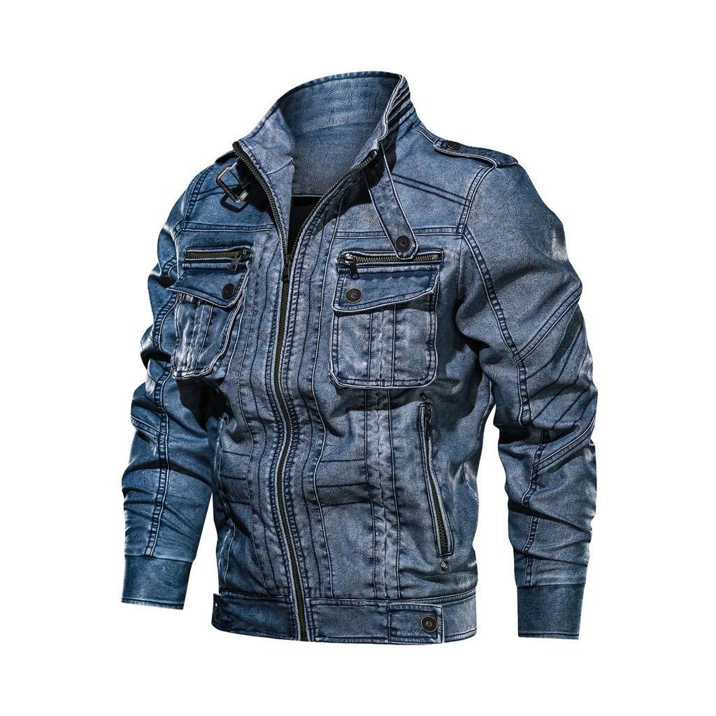 kemilove Men's Stand Collar Flap Chest Pocket Full-Zip Moto Faux Leather Jacket Blue