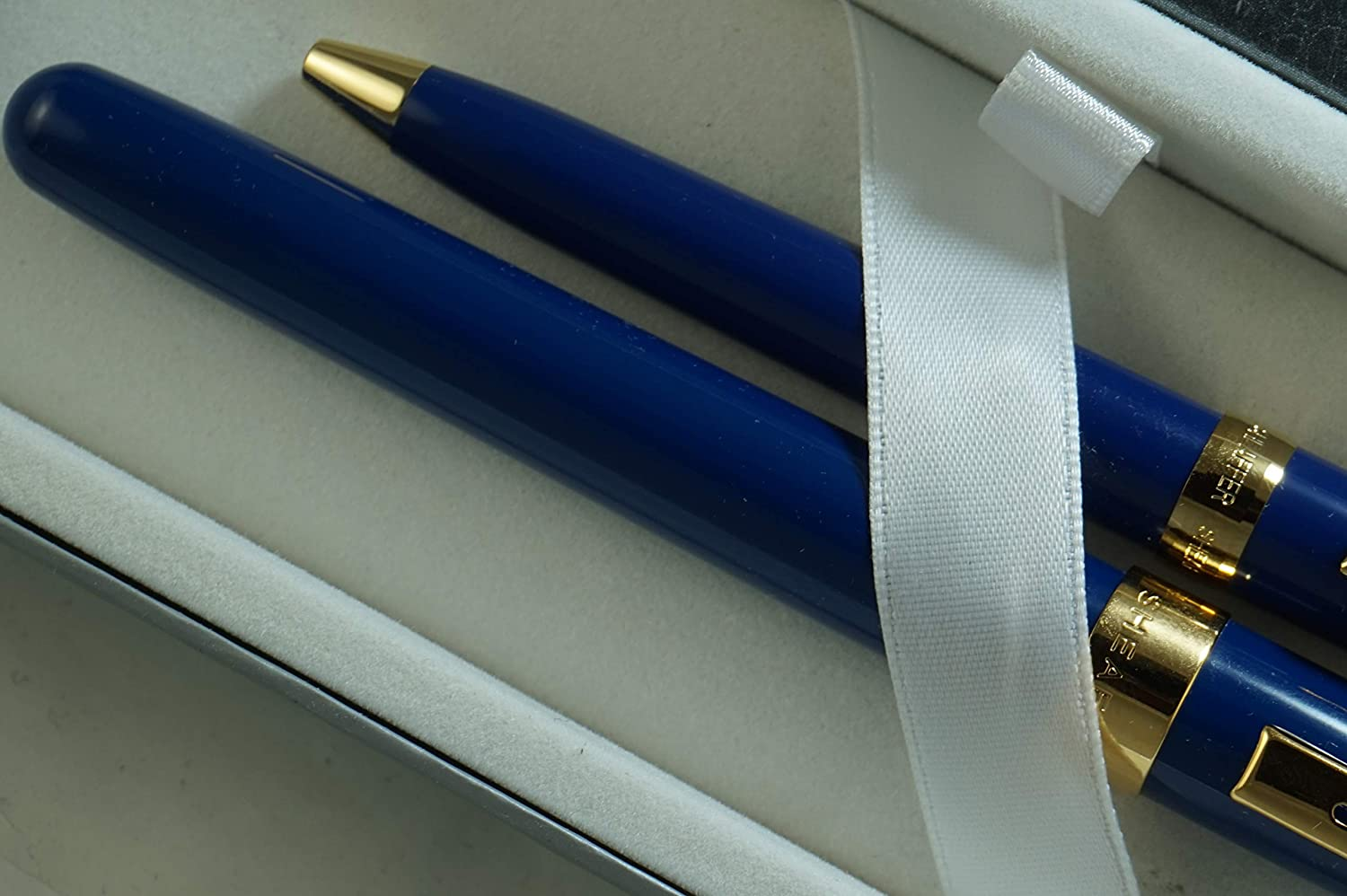 Ballpoint Pen /& Journal Gift Set Sheaffer Executive Companion Cobalt Blue Lacquer Signature Prelude Collection with 22KT Rose Gold appointments,Solid and Stamped 14KT Gold Medium Nib Fountain Pen