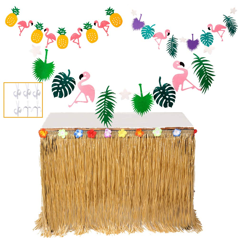 MIMIEYES Faldones de Mesa Hawaiana de Luau con Flores Tropicales y Pancartas para Garden Beach Summer Tiki BBQ Decoraciones de Fiesta (Multicolor)