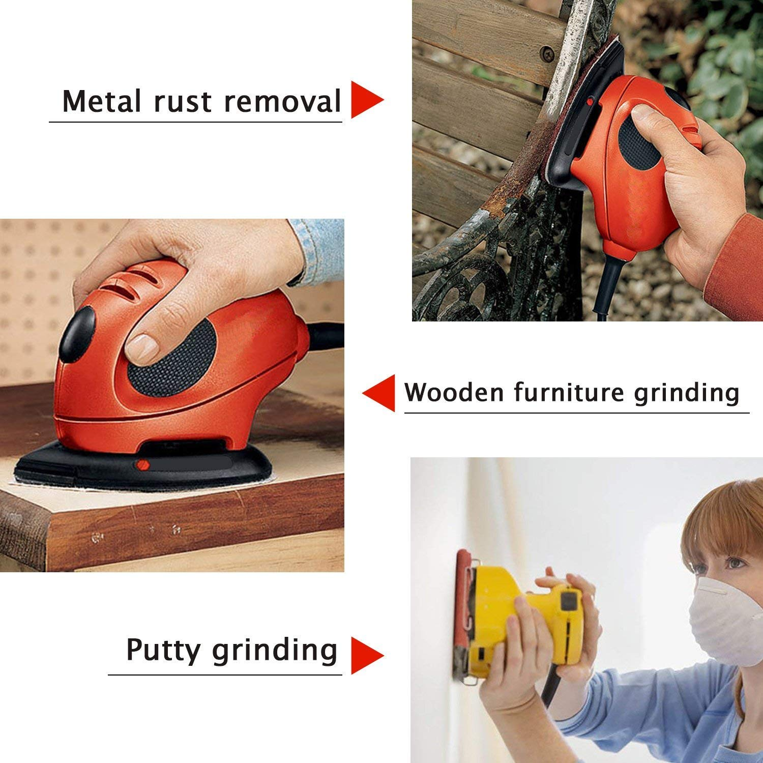 Leather Grinding and Polishing Wood HAWKUNG 60 Pieces Mouse Detail Sanding Sheets Sandpaper Rubber Plastic Hook and Loop Sanding Disc 40//60// 80//120// 180//240 Grits Sander Paper for Metal
