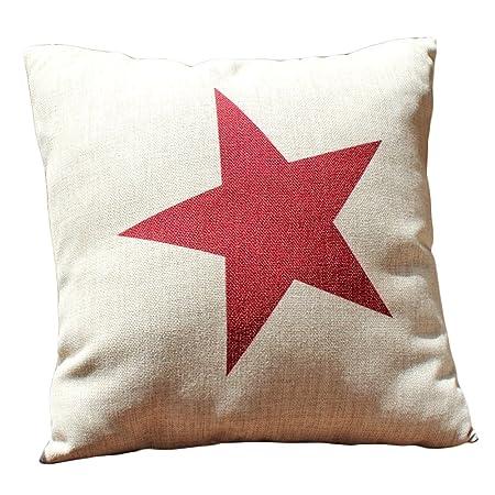Simplicity Style Big Red Star Print Decorative Cushions Burlap Mesmerizing Burlap Star Decorative Pillow