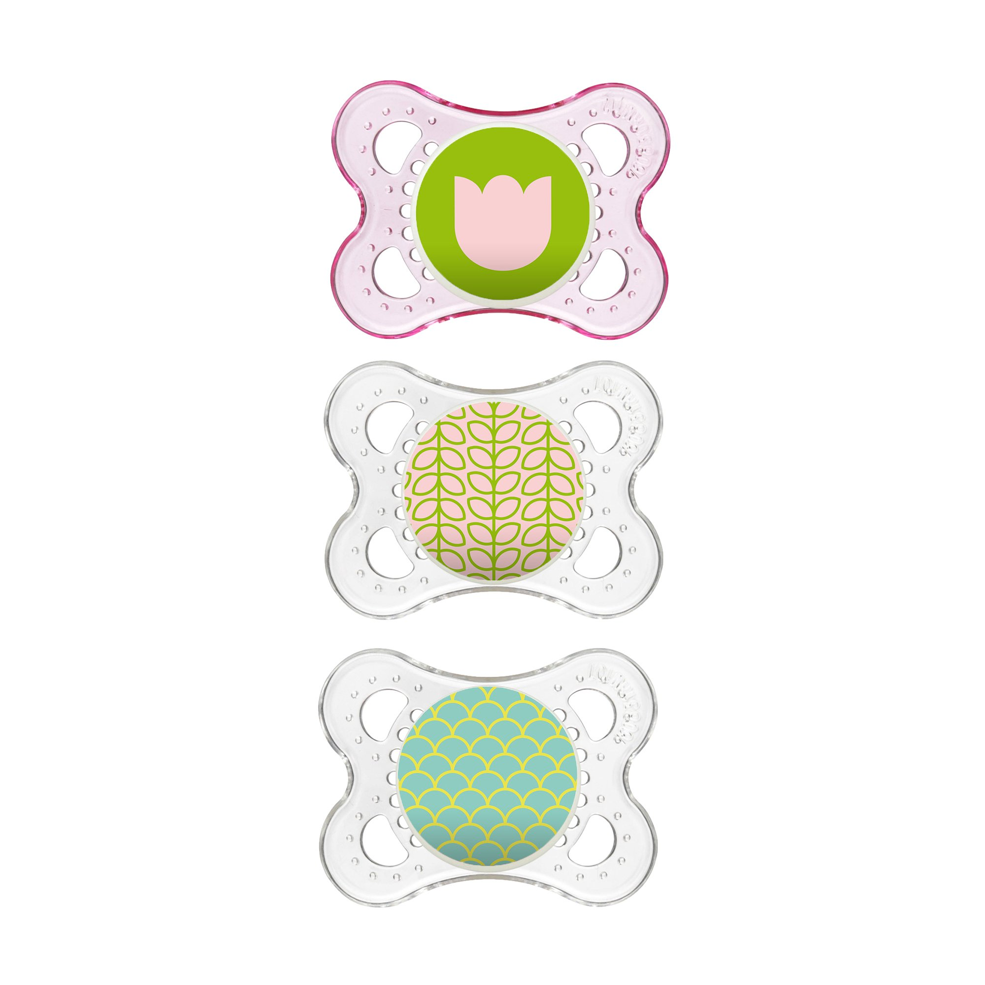 MAM Clear 3 Piece Orthodontic Pacifier, Girls, 0-6 Months