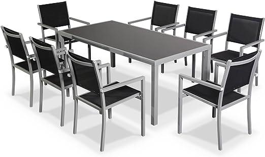 Salon de Jardin en Aluminium et textilène - Capua 180cm - Gris, Noir - 8  Places - 1 Grande Table rectangulaire, 8 fauteuils empilables