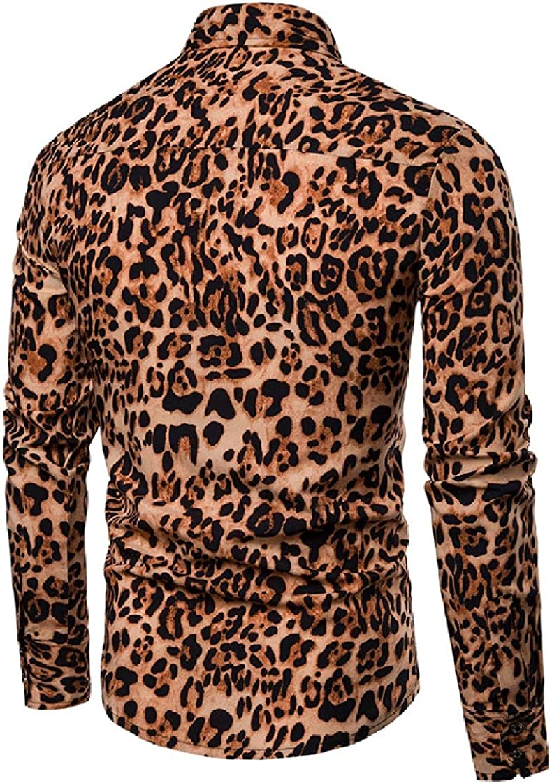 DressU Mens Gentleman Peaked Collar Regular-Fit Printing Long Sleeve Shirts
