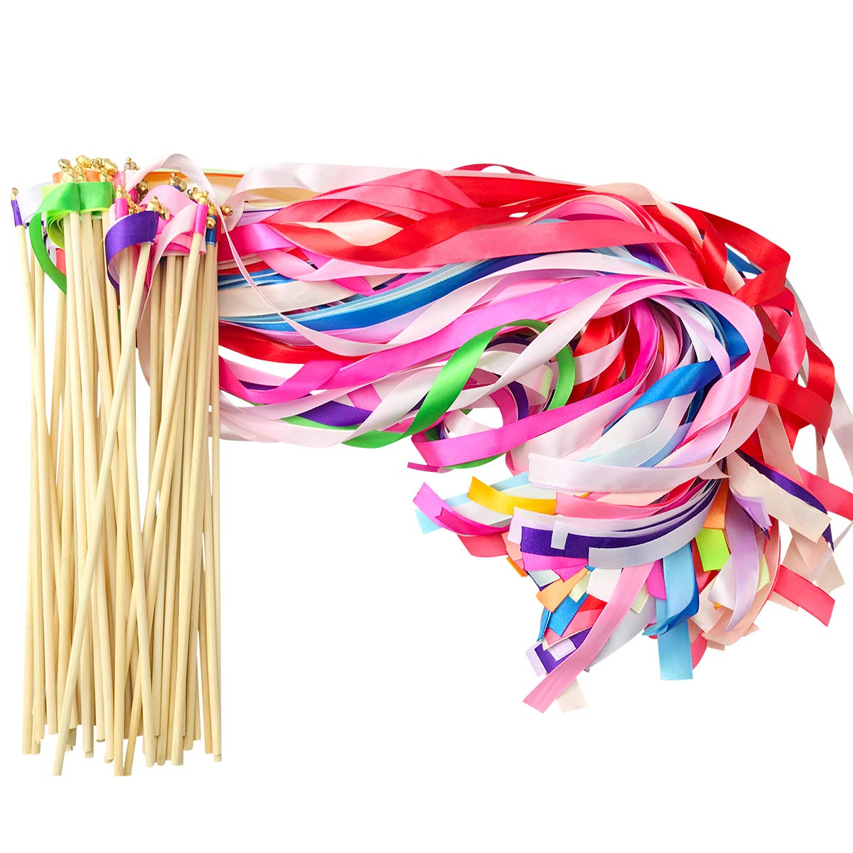 Cieovo 50 Pack Ribbon Fairy Wands Mix Color Chromatic Silk Streamers with Bells Fairy Stick Wish Wands for Wedding Holiday Celebration Kids Birthday Party Activities