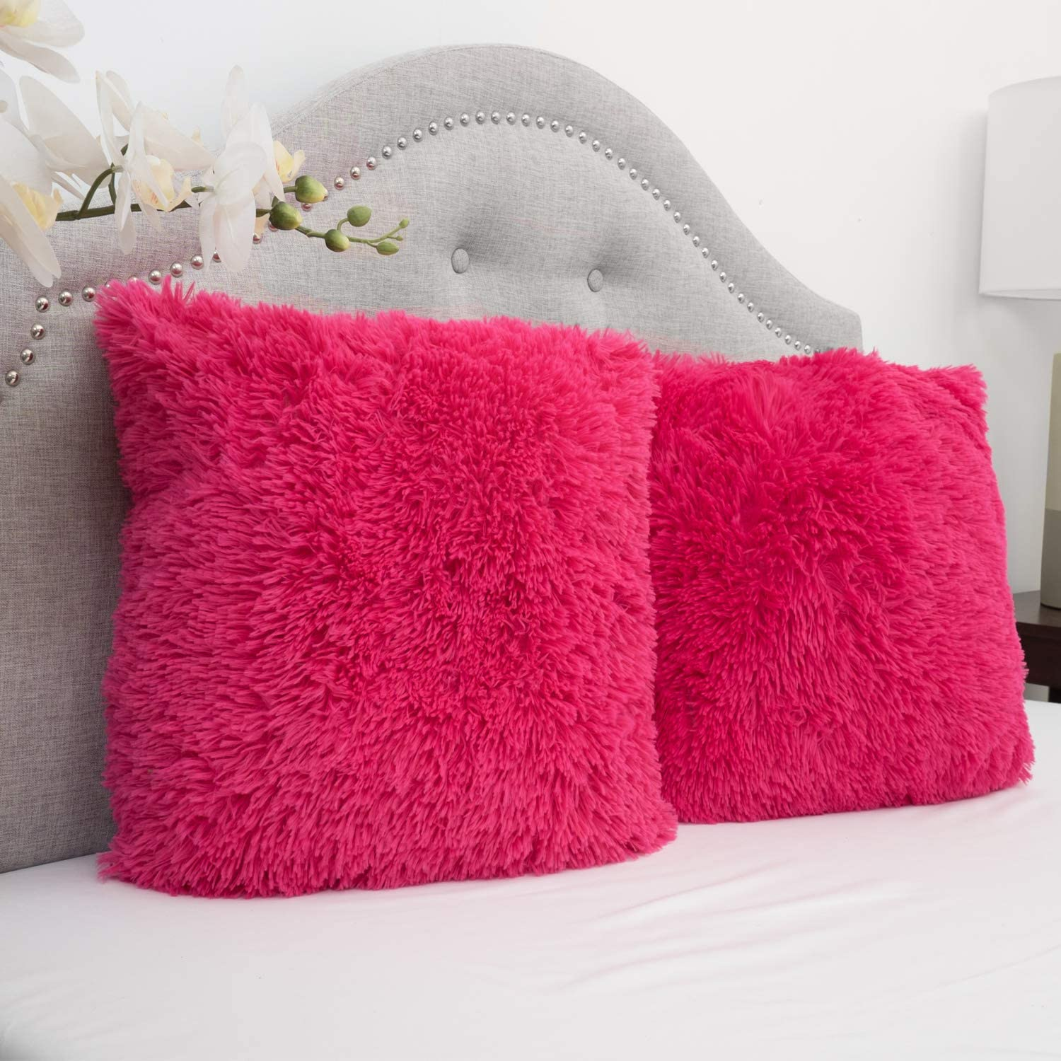 Sweet Home Collection Plush Pillow Faux Fur Soft and Comfy Throw Pillow (Pack of 2), Hot Pink