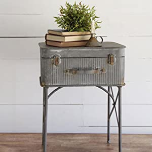 Foreside Home & Garden Distressed Metal Suitcase Side/End Table