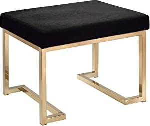 ACME Furniture Acme 96597 Boice Ottoman, black Fabric & Champagne, One Size
