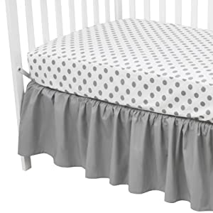 American Baby Company 100% Cotton Percale Standard Crib and Toddler Mattress Bundle, Gray Dots Fitted Sheet and Skirt, for Boys and Girls