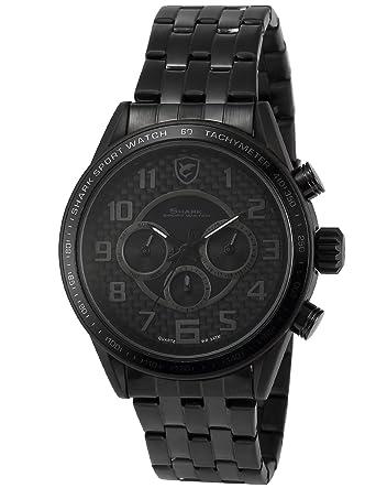 Blackspot Shark Deportivos Relojes De Pulseras Hombre Acero inoxidalbe Doble Zona Horaria Día Fecha SH368: Amazon.es: Relojes