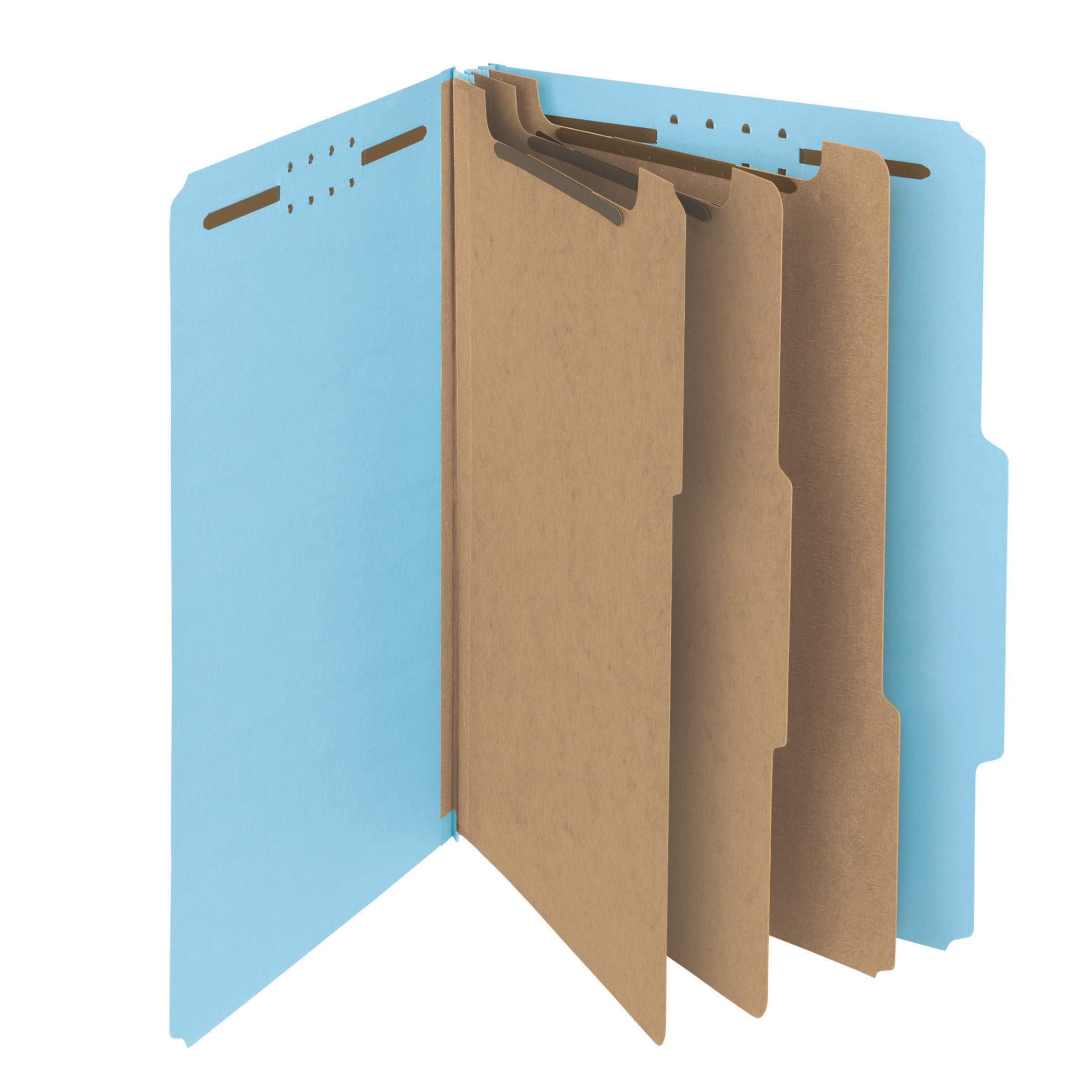Smead 100% Recycled Pressboard Classification File Folder, 3 Dividers, 3'' Expansion, Legal Size, Blue, 10 per Box (19090) by Smead