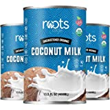 Roots Circle Unsweetened USDA Organic Coconut Milk 3 Pack of 13.5oz Cans   Dairy-Free For Coffee Creamer Soups Curries, Smoot