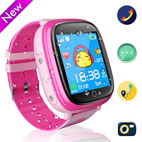 Jslai Niños Smart Watch Phone Relojes Impermeable Reloj de teléfono para niños y niñas con Linterna