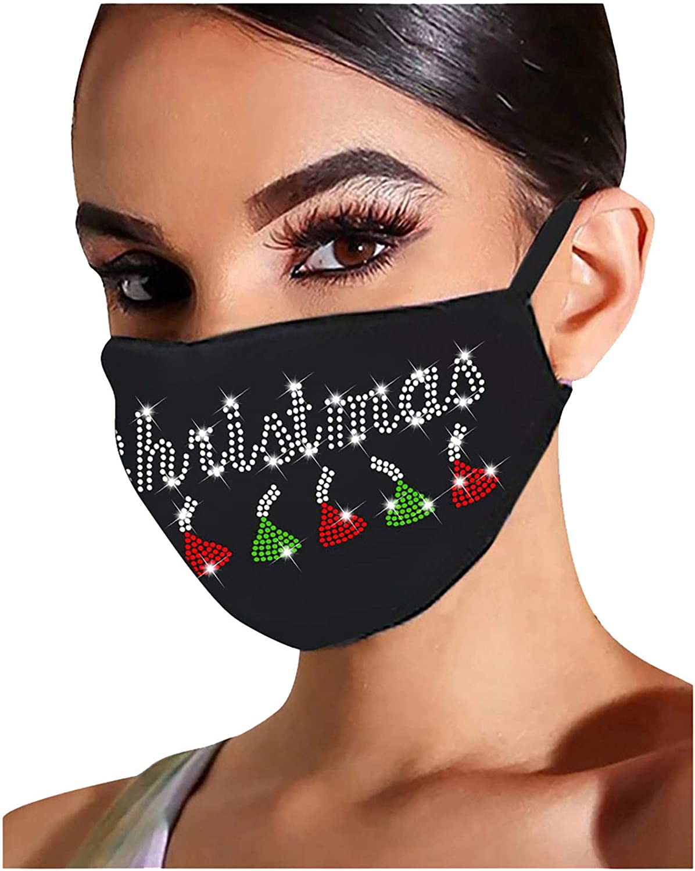 A Gl/änzend Strass Mund Nasenschutz N Glitzer Weihnachtsmotiv Mundschutz Diamant Print Maske Weihnachten Motiv Stoffmaske Waschbar Wiederverwendbar Mund-Nasen Bedeckung Halstuch Schals
