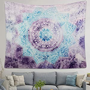 Alynsehom Tapestry Mandala Wall Hanging Decor Purple and Grey Indian Hippie Bohemian Flower Gypsy Decoration Beach Blanket Dorm Room Bed Sheets (52