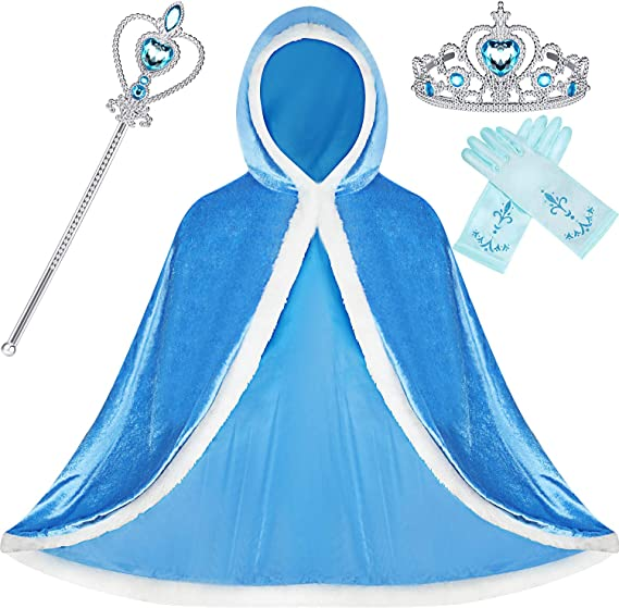 SATINIOR 4 Pieces Fur Princess Hooded Cape Cloaks Costume for Girls Princess Costumes Party Accessories