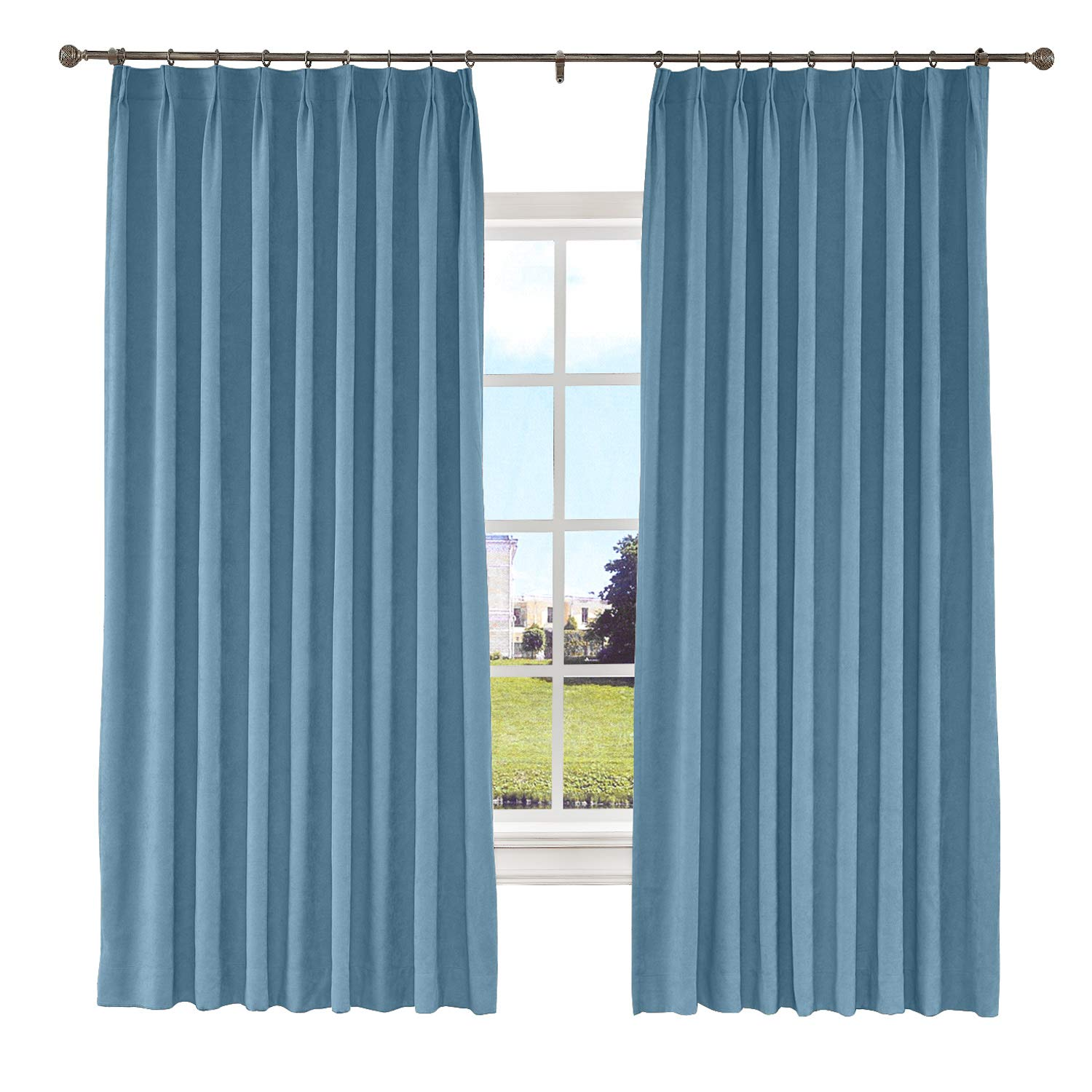 Macochico Extra Wide Polyster Cotton Curtains 120W x 96L Thermal Insulated Pinch Pleat Drapes with Blackout Lining for Sliding Door Patio Door Living Room Bedroom Theater,Light Blue(1 Panel)