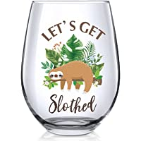 Let's Get Slothed Stemless Wine Glass, Funny Sloth Present for Sloth Lovers Him Her Men Women Friend Family Coworker on…