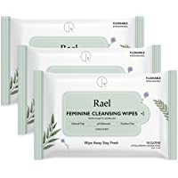Rael Lingettes féminines avec des ingrédients naturels, utilisation de jour ou de nuit, jetable, pH équilibré, doux et sûr sur la peau. (3 Packs)