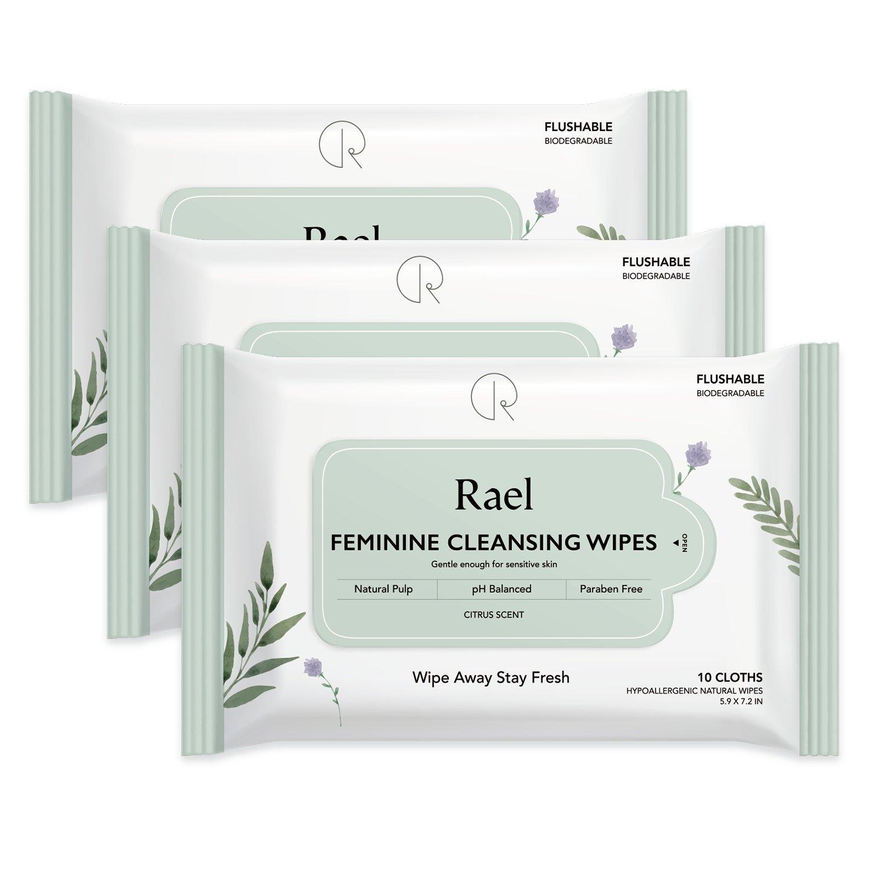 Salviette al Femminile Rael con ingredienti naturali, da usare giorno o notte, flushable, pH-equilibrato, delicato e sicuro sulla pelle. (2 Packs) RAEL-WP-02