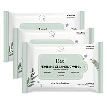 Rael Feminine Wipes with natural ingredients, use day or night, flushable, pH-balanced, gentle and safe on the skin. (3 Packs)
