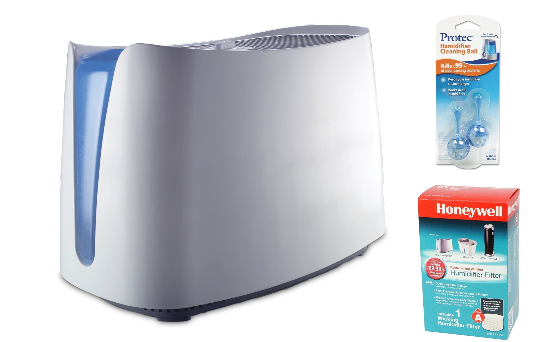 Honeywell HCM350W UV Germ Free Cool Moisture Humidifier and Honeywell HAC-504AW Humidifier Filter, and PC2V1 Humidifier Cleaning Cartridge Bundle