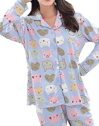 229939561db0 BAIYIXIN Big Girls  Casual Comfy Cute Bear Print Pajamas Set Lounge  Sleepwear(Blue-