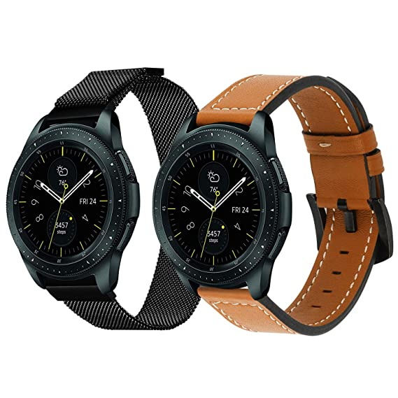 Galaxy Watch Active 40mm R500/ Galaxy Watch 42mm Bands, iWonow 20mm Quick Release Genuine Leather Watch Band Milanese Loop Mesh Strap Replacement for ...