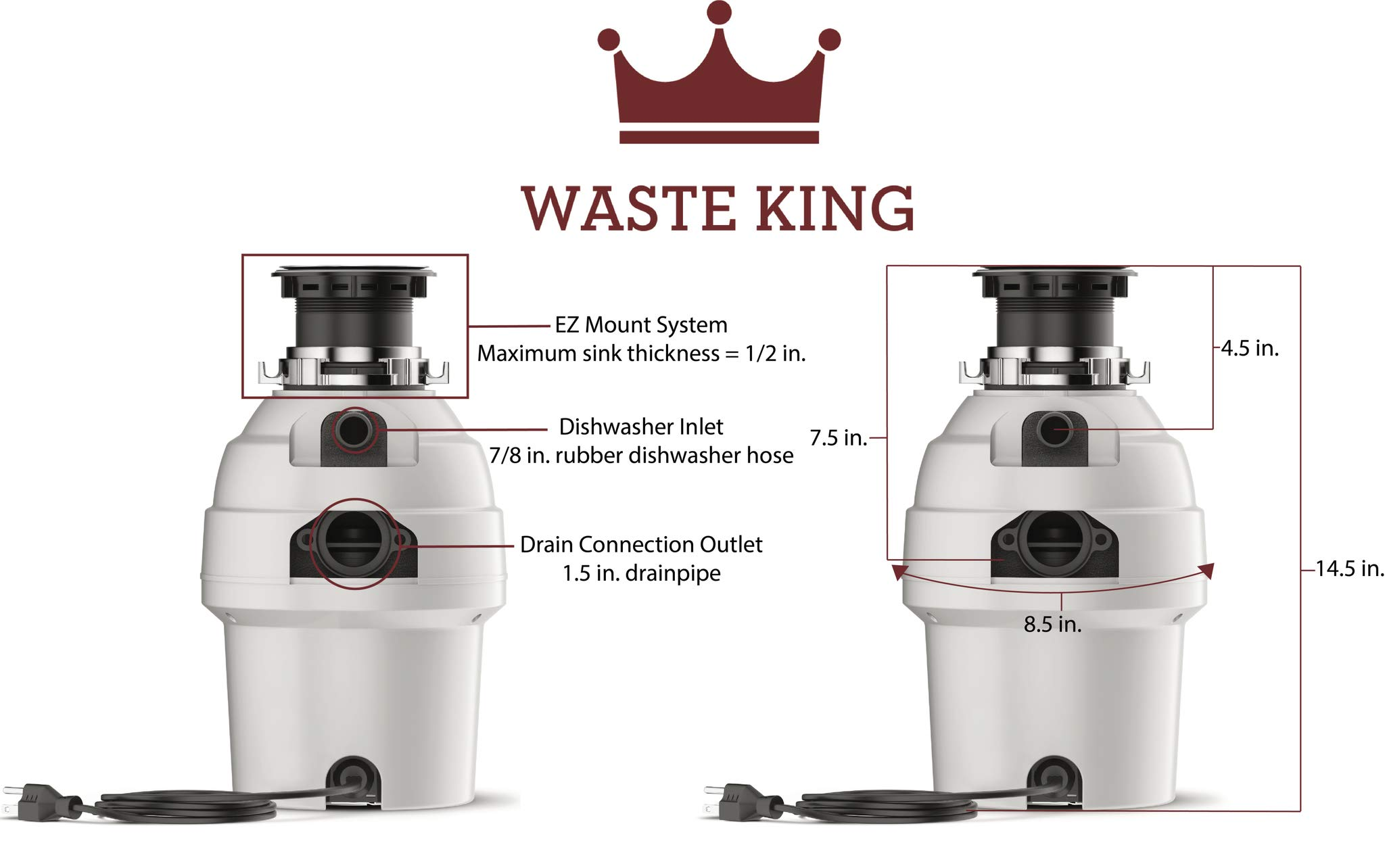 Waste King L-3300 Garbage Disposal with Power Cord, 3/4 HP by Waste King