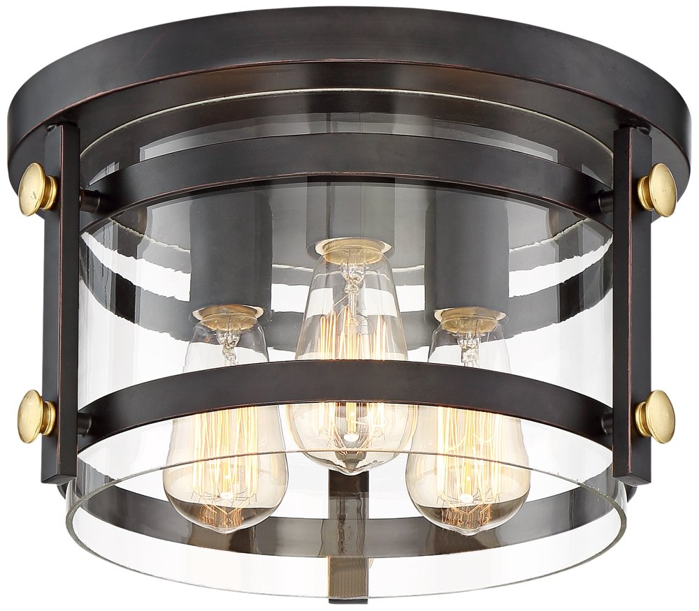 Eagleton 13 1/2'' Wide Oil-Rubbed Bronze LED Ceiling Light by Franklin Iron Works