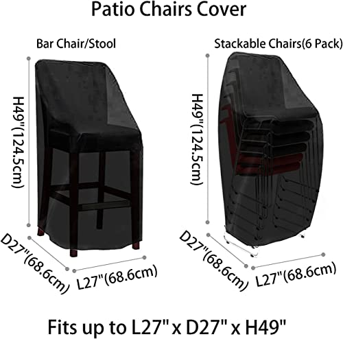 Outdoor Patio furniture Cover Waterproof Durable Outdoor Bar Stool Cover Premium Stairs Cover Stackable Chairs Cover Black Thick Oxford Cloth L27.5 x D27.5 x H49.2 inch, 4 Pack with Lock Hole