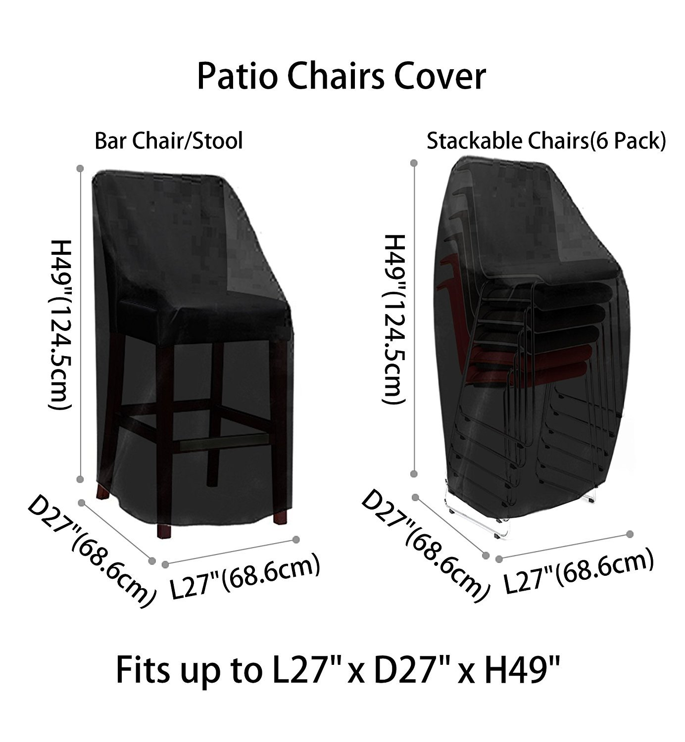 L100.100 x D100.100 x H100.100 inch, 10 Pack Patio Chair Covers Waterproof