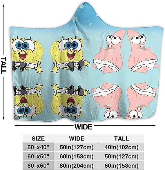 LIUYAN Fleece Hooded Blanket Spongebob in Rainbow Throw Blanket for Adults Men Women Girls Boys Kids