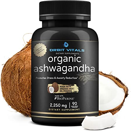 Organic Ashwagandha Root 2250mg with Organic MCT Oil Powder & Black Pepper – Pure Potent Natural Anxiety Relief - Thyroid & Adrenal Support – Mood Enhancer Immune Booster – 90 Vegan Capsules