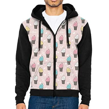 WeiGin Cute Ice Cream Lightweight Zipper Long Sleeve Hooded Pocket  Sweatshirt Sweater For Men Teens Sports aa30c2d38f