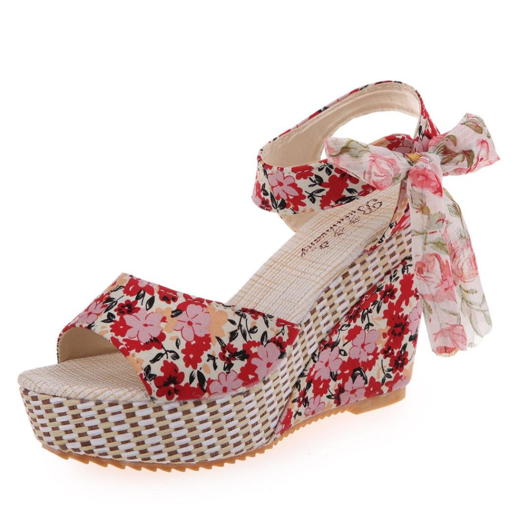 Fheaven Women's Wedge Sandals Floral Strappy The Top Platform High Heels Beach Party Sandals (China size:40(US:9.5), Red)