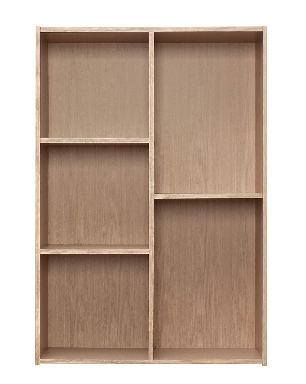IRIS USA CX-23CN 5-Compartment Wood Organizer Bookcase Storage Shelf, Light Brown