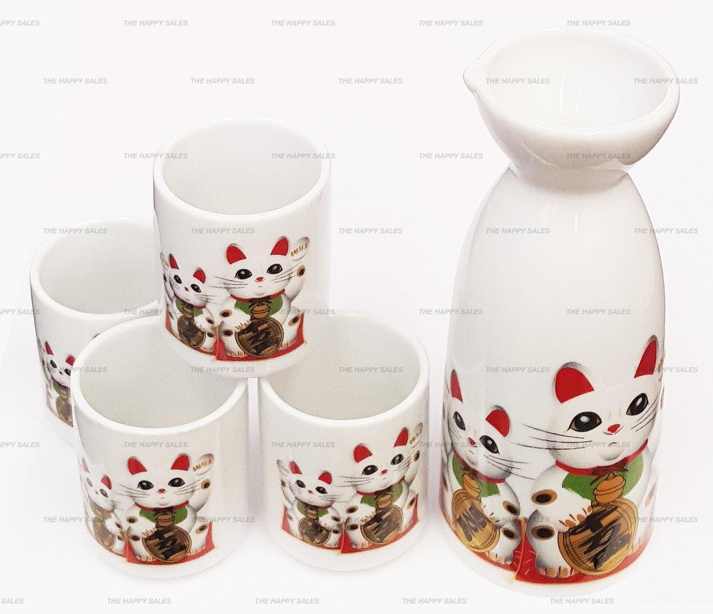 Happy Sales Fortune Cat Maneki Lucky Neko Japanese Sake Set, Maneki Lucky Cat