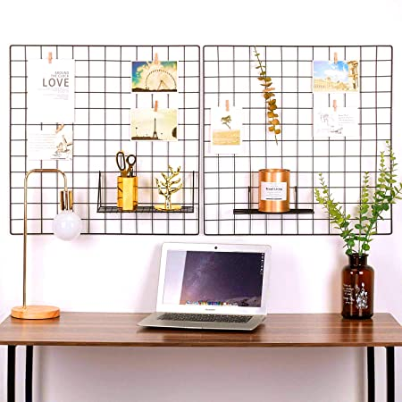 Oucles Photo Wall Set Of 2 Grid Panel Metal Wire Display Panel