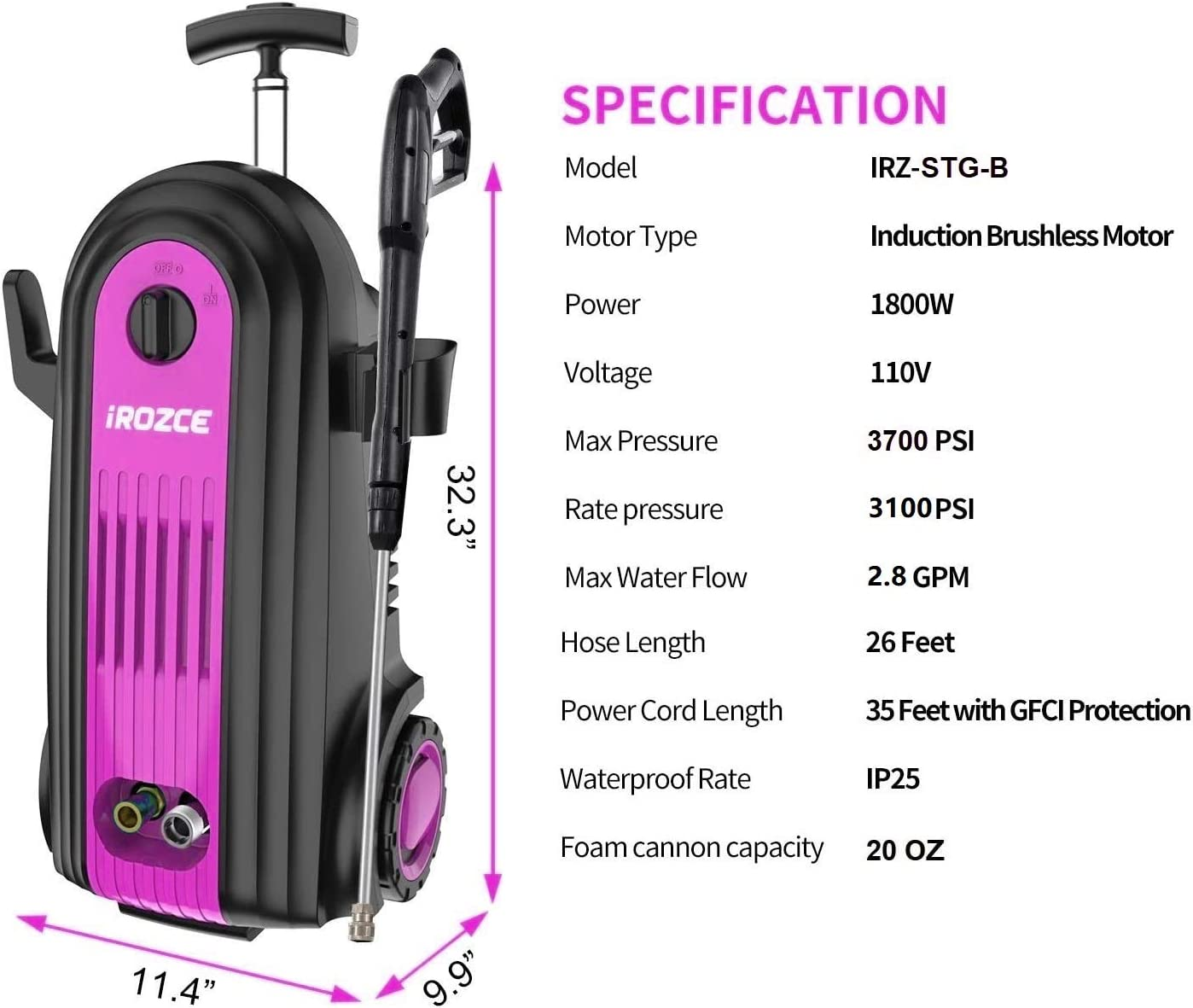 Metal Adapter irozce Pressure Washer Car Washing 3780PSI 2.0GPM Max Brushless Induction Motor Electric Power Washer with Foam Cannon Pink Connector Nozzles for Driveway