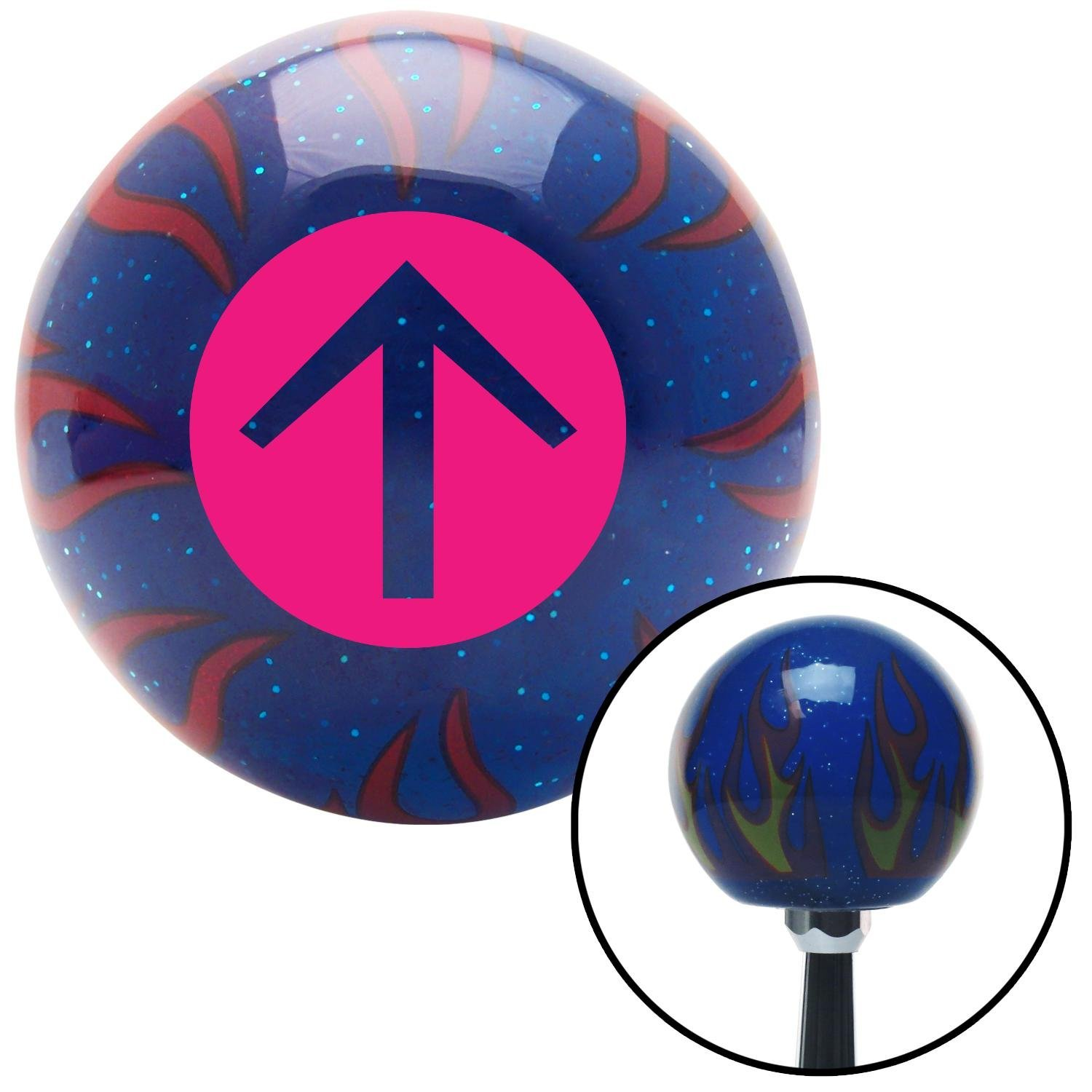 American Shifter 244408 Blue Flame Metal Flake Shift Knob with M16 x 1.5 Insert Pink Circle Directional Arrow Up