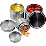 CoaGu 18/8 Stainless Steel Containers Bento Box Canisters Sets for Your Lunch, Kitchen, Pack of 3(8oz,16oz,24oz) BPA Free Dis