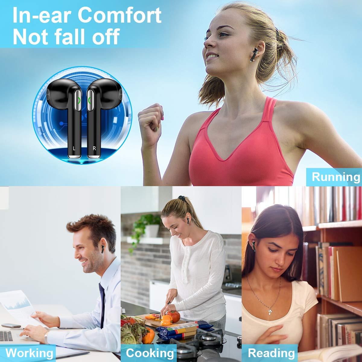 Auriculares Inalambricos, Auriculares Bluetooth Inalámbricos áuriculares In Ear Inalambricos con Micrófono áuriculares Bluetooth Mini Estéreo para iPhone 6 ...
